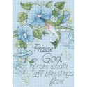 Counted Cross Stitch-65015 Hummingbird & Morning Glories