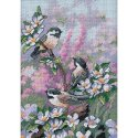 Counted Cross Stitch-6884 Gold Petite Chickadees In Spring